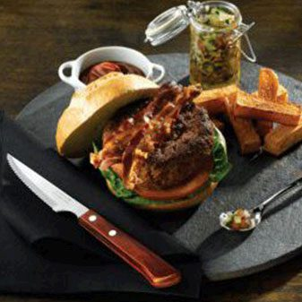 rustic burger served on slate